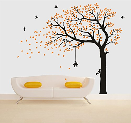 Fymural Large Falling Tree Wall Stickers Mural Paper for Livingroom Baby Room Vinyl Removable DIY Decals 86.6x70.9,Orange+Black