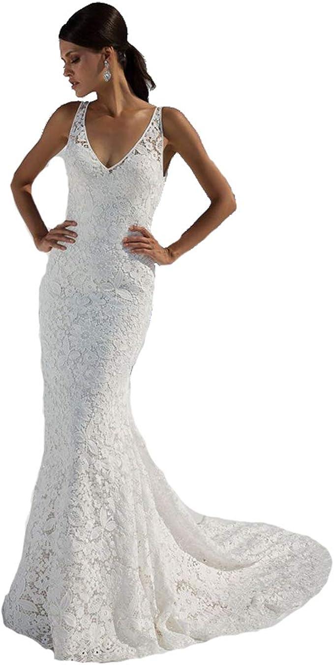 Amazon.com: SIQINZHENG vestido de novia de encaje con cuello ...
