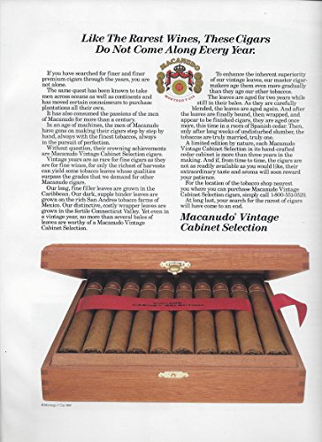 --PRINT AD-- For 1995 Macanudo Vintage Cabinet Selection Cigars --PRINT AD-- (Macanudo Vintage compare prices)