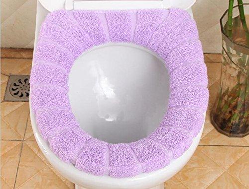 Practical Warm Soft & Comfy Winter Plush Thicken Waterproof Bathroom Toilet Decor Toilet Seat Cover Toilet Mat, Toilet Seat Cleaning Pad Cover,Toilet seat ring,Purple
