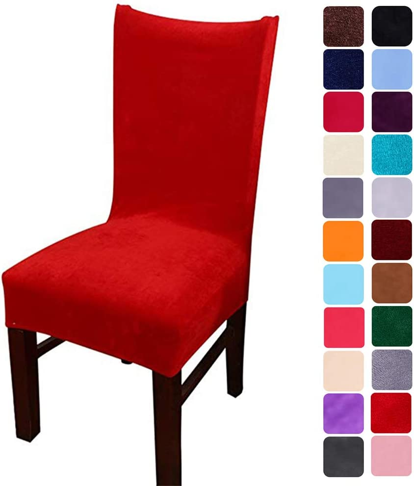 smiry Velvet Stretch Dining Room Chair Covers Soft Removable Dining Chair Slipcovers Set of 4, Red