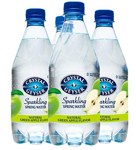 Crystal Geyser Sparkling Spring Water, Green Apple, 18oz PET Bottles, No Artificial Ingredients, Sweeteners, Calorie Free (Pack of 12)