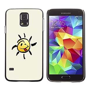 Caucho caso de Shell duro de la cubierta de accesorios de protección BY RAYDREAMMM - Samsung Galaxy S5 SM-G900 - Happy Smiley Tongue