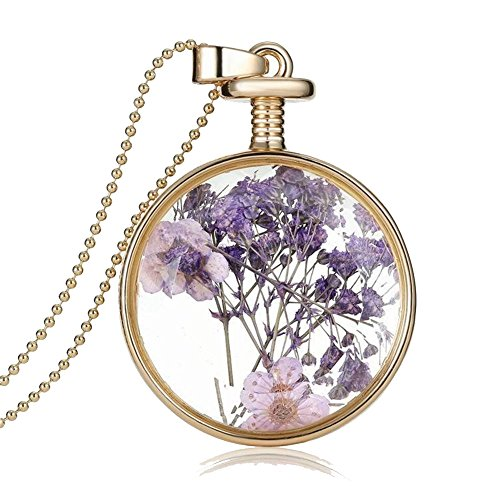 Purple Round Dried Pressed Purple Flower Pendant Necklace white Gold Plating Necklace