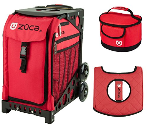 Zuca Sport Bag - Chili with Gift Lunchbox and Seat Cover (Black Non-Flashing Wheels Frame) by ZUCA
