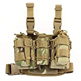 Molle Tactical Drop Leg Platform Leg Rig with 2 Attached Double Stacker Magazine