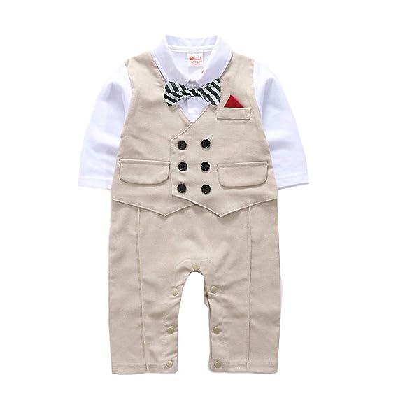 Mitlfuny Mameluco Conjunto de Ropa para Bebé Niños y Niñas Gentleman Camisa de Manga Larga Chaqueta