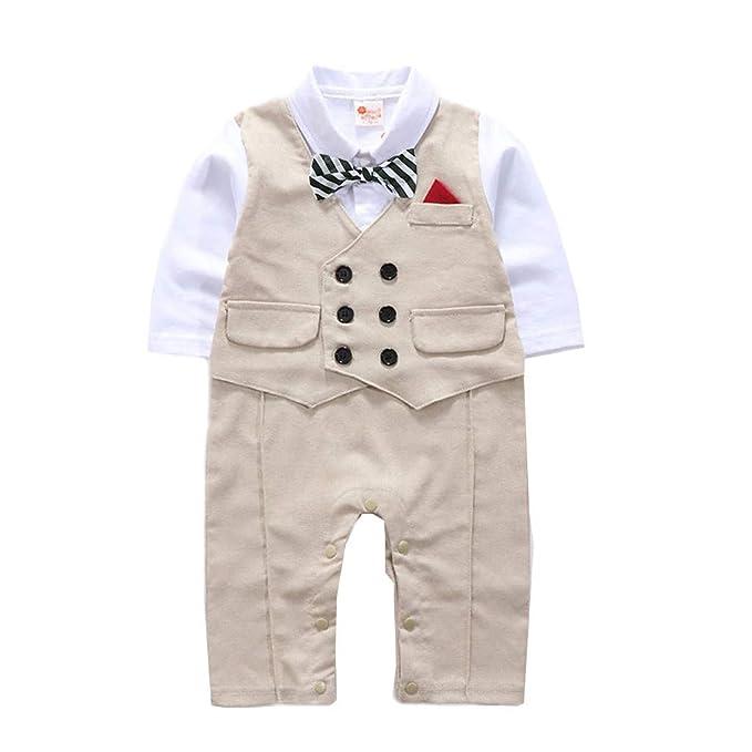 Conjuntos Bebé NiñO,JiaMeng Gentleman Bowtie a Cuadros Swallowtail Romper Mono Trajes Bebé Conjuntos Moda Camisa + Pantalones