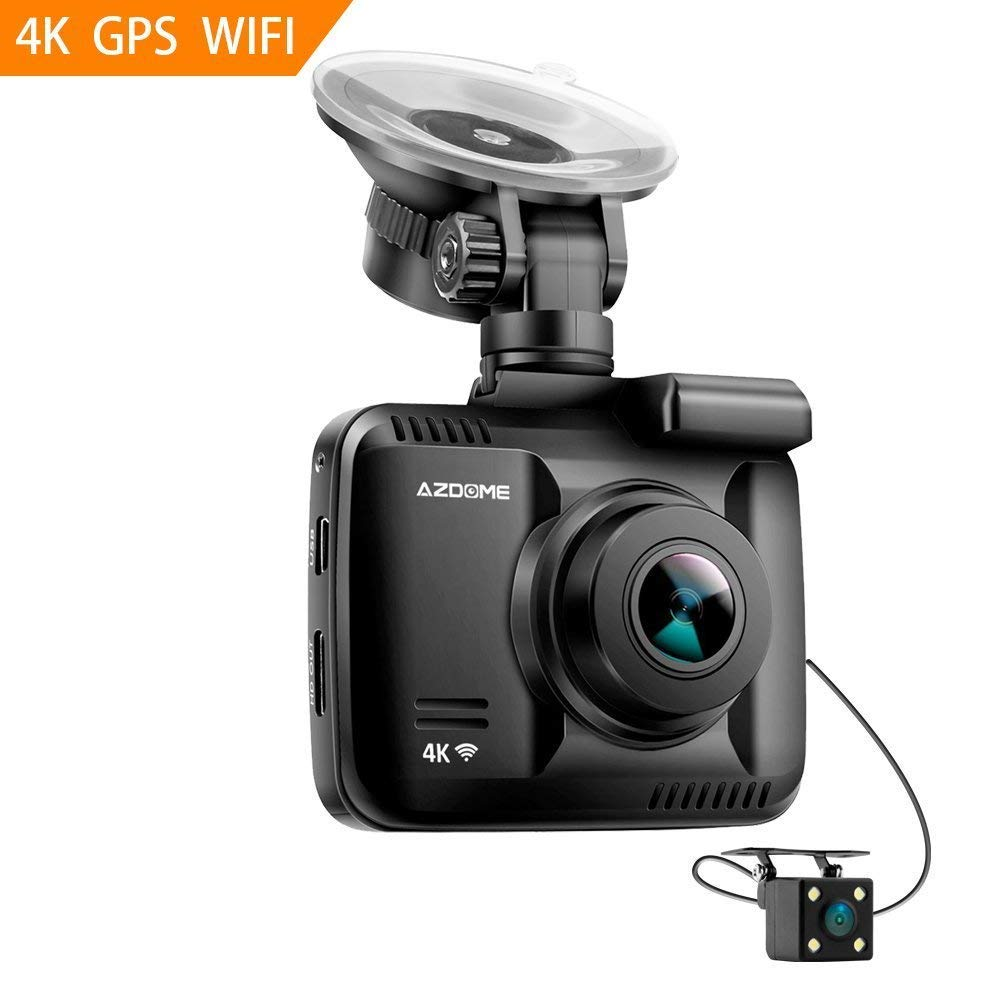 4K Ultrta HD Dash Cam - AZDOME Built in GPS WiFi 2160P Car Camera 170 Degree Wide Angle View, Car Video Recorder with Night Vision,G-Sensor,Loop Recording,Parking Monitor,Sony Sensor WDR for Uber Lyft UKDOME-AZGS63H