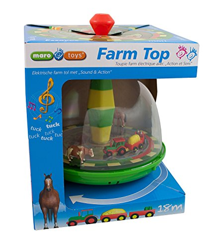 Maro Toys Happy Farm Top Spinning Playset with Lights and Music by Maro Toys