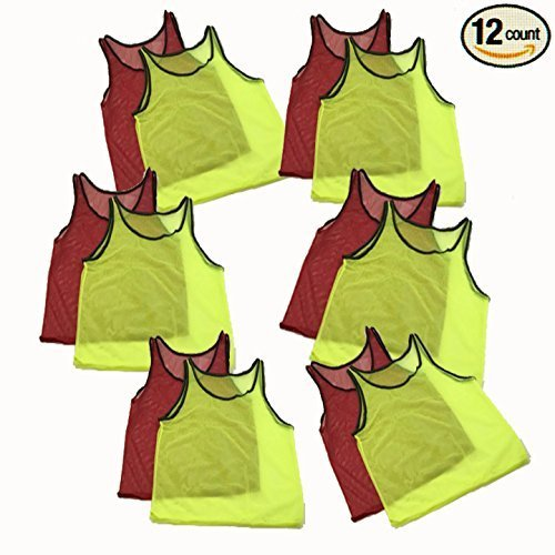 Adorox 12 Pack Youth Scrimmage Team Practice Nylon Mesh Jerseys Vests Pinnies for Children Sports Football, Basketball, Soccer, Volleyball … (Neon Yellow and Red, 12 (Nylon Jersey)