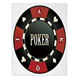 Satin Rectangular Tablecloth [ Poker Tournament,Casino Chip with Poker Word in Center Rich Icon Card Suits Decorative,Army Green Vermilion White ] Dining Room Kitchen Table Cloth Cover