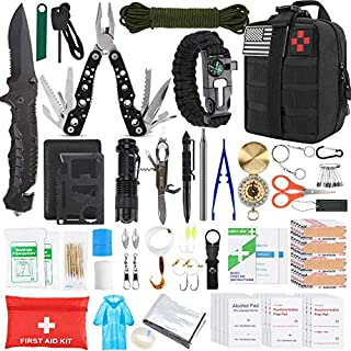 Gifts for Men Dad Husband Fathers Day, KOSIN Survival Gear and Equipment, 100 Pcs Survival Kit Molle System Compatible Outdoor Gear Emergency Kits Trauma Bag for Camping Hunting Hiking and Adventures