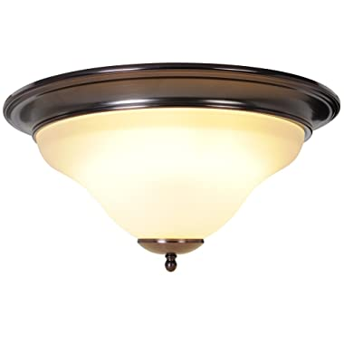 Monument 617226 16-Inch W by 7-5/8-Inch H Sanibel Flush Mount and Vanity Lighting, 1 Light Flush Mount, Oil Rubbed Bronze