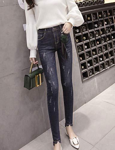 Jeans en pour Pantalon Haute YFLTZ Solide Femme Coton Taille colore Skinny XL qfEwxB