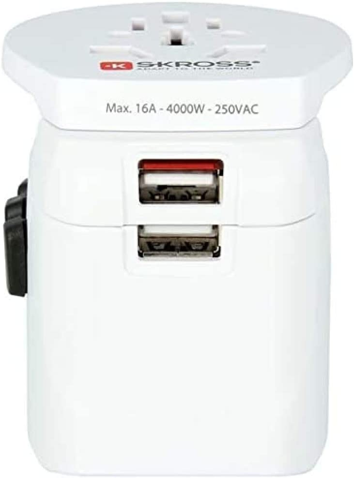 Skross 1302550 Pro Light Usb World 3 Pol Weltreiseadapter Mit Patentiertem Länderschiebersystem 2400 Ma Shared Weiß Baumarkt
