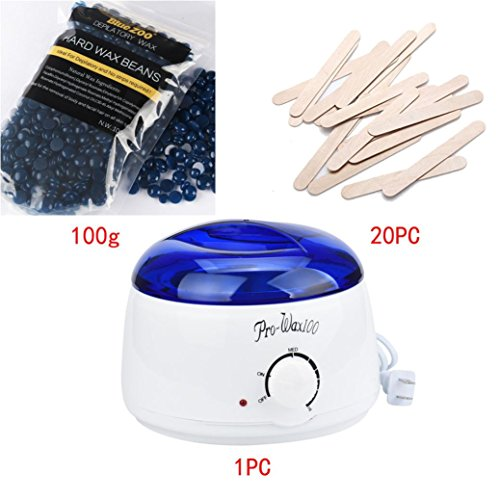 SMYTShop Cosmetic Wax Warmer,Hair Removal Bean+Wiping Sticks+Hot Wax Warmer Heater Pot Depilatory Set (Chamomile)