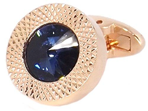 4aba3e691b01 Cufflinks Direct Sapphire Blue Swarovski Crystal Gem in Rose Gold Plate Men  Gift