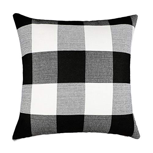 4TH Emotion Black and White Buffalo Checkers Plaids Cotton Linen Throw Pillow Cover Cushion Case Retro Farmhouse Decorative for Sofa 18 x 18 Inch -