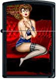 Best Zippo Lingerie - Lady, Lipstick, Blue Lingerie Red Couch Pinup Black Review