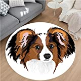 Nalahome Modern Flannel Microfiber Non-Slip Machine Washable Round Area Rug-Cute Smart Adorable Best Friend Dog Movie Pet Cartoon Artwork Image Cinnamon Black White area rugs Home Decor-Round 55''