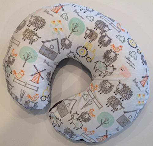 Eieio Farm - Minky Nursing Pillow Cover. EIEIO Farm Animal Cuddle. You choose the Dimple Dot back. Back is pictured in Charcoal Dimple Dot.