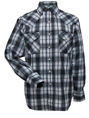 Cowboy Dress For Man - Ely Cattleman Long Sleeve Mens Gray Plaid Snap Western Shirt