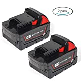 LENOGE 18V 5.0Ah Replacement Cordless Drill Power Tool Battery Pack for Milwaukee M18 M18B 48-11-1850 48-11-1820 48-11-1828 (2-Packs)