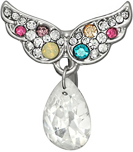 Surgical Steel Reverse Mount Jeweled Angel Wings with Tear Drop Crystal Dangle Belly Button Ring