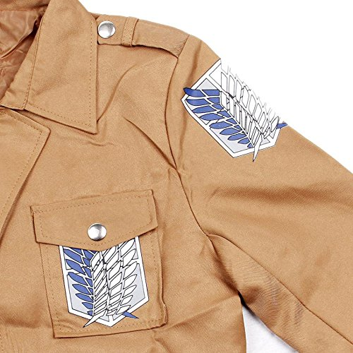 Khaki Anime Attack on Titan Jacket Coat Cosplay Costumes Clothes, S