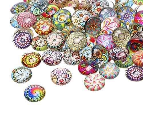 12mm Mosaic Printed Half Round Glass Dome Cabochons Tiles Colored Pattern Charms for DIY Craft Photo Charms, Bezel Pendant Setting Trays, Earrings, Necklace Handcraft Scrapbooking and Jewelry Making Colored Glass Tile Magnets