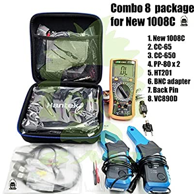 Combo 8 of Hantek New! 1008C Auto USB oscilloscope + 2 pcs PP80 Probe + 1 Set CC650 + 1 Set CC65 Current Clamp + 1pcs HT201 Attenuator + 1 pc BNCtoDMM Adapter + 1 Pair Back Pin + 1 VC890D Multimeter