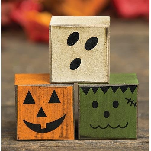 Halloween Boo Friends Wood Blocks - Set of 3 - Pumpkin, Ghost, Frankenstein - Country Prim Rustic -