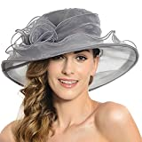 Women's Sheer Wide Brim Sun Party Church Wedding Floral Organza Hat(Dark Grey)