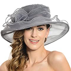 Description: This kentucky derby hats for women has a wide kettle edge brim that provides additional sun protection.  It is perfect for any outdoor sports and activities.  With this beautiful and feminie lady hat, you will become the focus of...