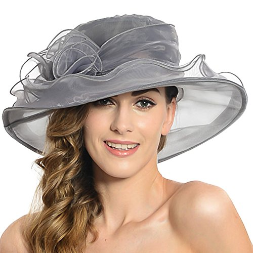 Acediscoball Women's Sheer Wide Brim Sun Party Church Wedding Floral Organza Hat Grey