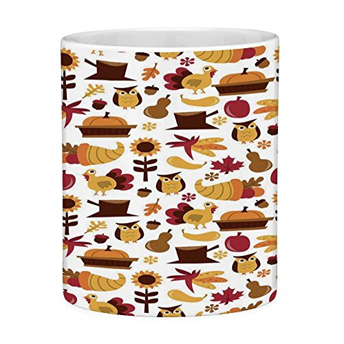 - Lead Free Ceramic Coffee Mug Tea Cup White Harvest 11 Ounces Funny Coffee Mug Cute Cartoon Fall Composition Nuts Maple Leaves Owls Roosters Pumpkins Yellow Brown Red Orange