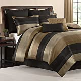 Hudson Elegant Luxury Striped Quilted Patchwork Jacquard Bedding 7 Piece Bed in a Bag TWIN Comforter Set with Sleep Mask