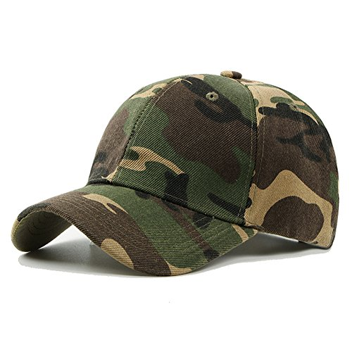 Camo Baseball Cap, Men and Women Army Camouflage Cotton Casquette Hat for Climbing Hunting Fishing(Green)