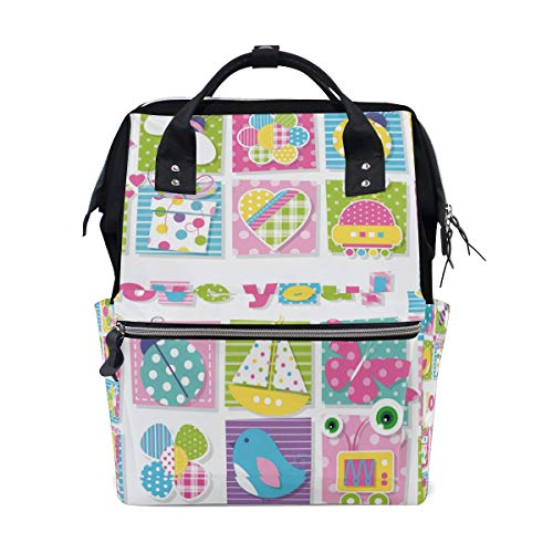 VIVINNE Mummy Backpack Birds Bees Ladybugs Butterflies Presents Robots Multi-function Diaper Bags with Doctor Style Wide Opening