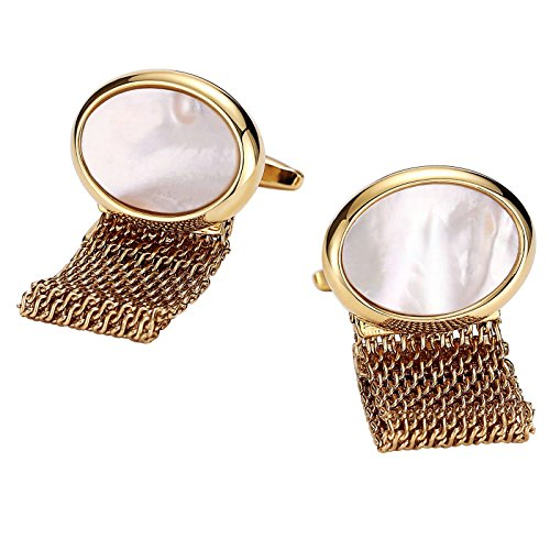 - ANAZOZ Stainless Steel Cufflinks for Men Shirt Cufflinks Gift Gold White Oval with Hollow Chain 1.7x2.2CM