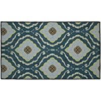 Structures Julianna Textured Printed Accent Rug, Blue/Yellow 26 x 45