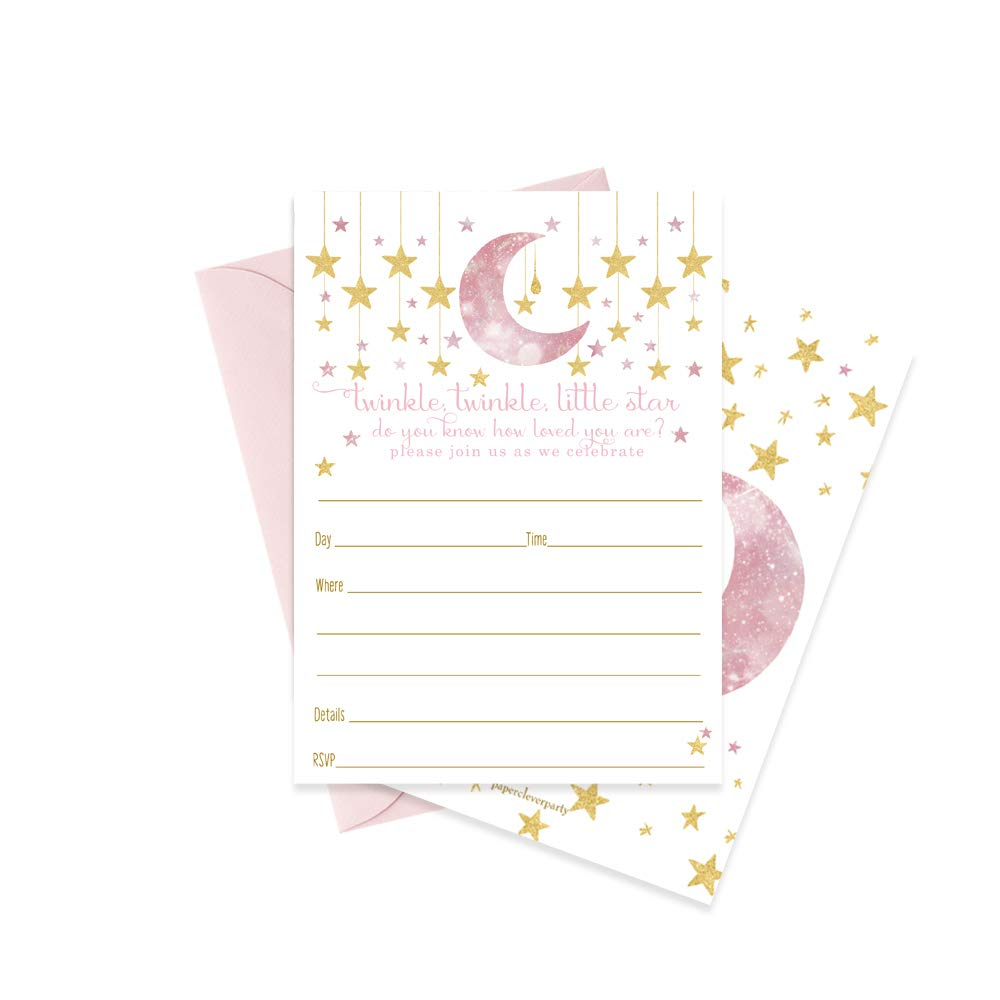Twinkle Little Star Invitations with Pink Envelopes 15 Pack Baby Shower or Parties