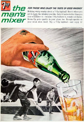 1963 Ad Vintage 7 UP Soda Pop Soft Drink Whiskey Highball Mixer Bowling Lane - Original Print Ad from PeriodPaper LLC-Collectible Original Print Archive
