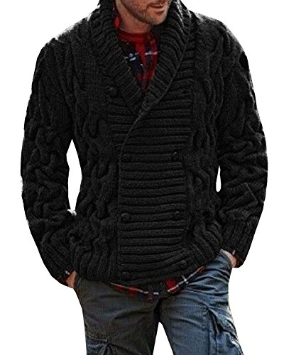 Bbalizko Mens Ribbed Knit Chunky Cardigan Double Breasted Shawl Collar Sweater Jacket Black