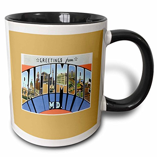 3dRose mug_170081_4 Greetings from Baltimore Maryland Scenic Postcard Reproduction Two Tone Black Mug, 11 oz, - Baltimore Outlets Maryland In