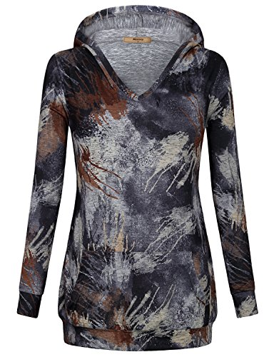 Miusey Juniors Tops, Misses Petite Stylish V Neck Going Out T Shirt Abstract Work Burnout Knit Cute Long Sleeve Tunic Sweatshirt Colorful Running Unisex Banding Casual Designer Hoodie Women Brown XL