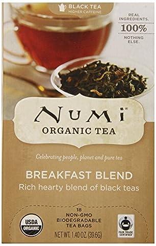 Numi Organic Tea Fair Trade Breakfast Blend - Morning Rise - Full Leaf Black Tea in Teabags, 18-Count Box (Pack of - Numi Black Organic Tea