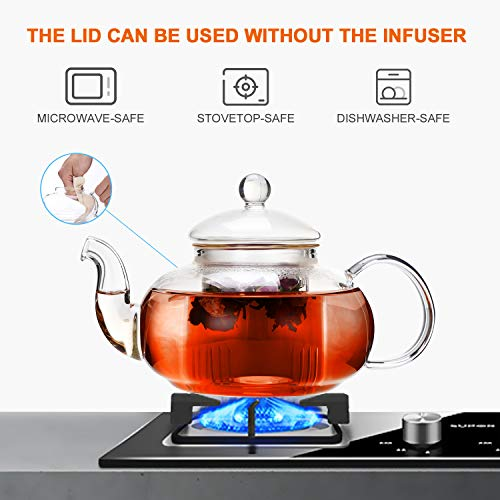 CnGlass Glass Teapot Stovetop Safe,20.3 oz Clear Teapots with Removable Filter Spout,Teapot for Loose Leaf and Blooming Tea