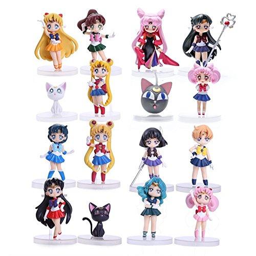 Anime Sailor Moon (8cm 16pcs) Figures Tsukino Usagi Sailor Mars Mercury Jupiter Venus Saturn PVC Figure Toys